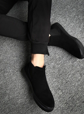潮牌男士休闲高帮皮鞋潮流马丁靴冬季加绒棉鞋翻毛皮冬鞋保暖男鞋