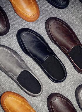 男士皮鞋春秋款休闲男鞋2021新款一脚蹬板鞋潮鞋冬季保暖加绒棉鞋
