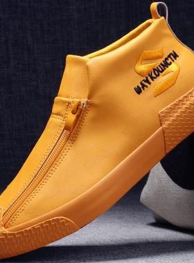 冬季鞋子男潮男鞋棉鞋2021年秋季新款皮鞋板鞋加绒保暖男士休闲鞋