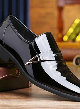 冬季男士皮鞋真皮商务正装内增高鞋加绒保暖鞋尖头漆皮配西装男鞋