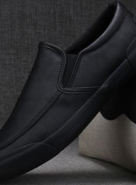 二棉鞋冬季男鞋保暖2021秋季新款一脚蹬懒人休闲商务正装男士皮鞋