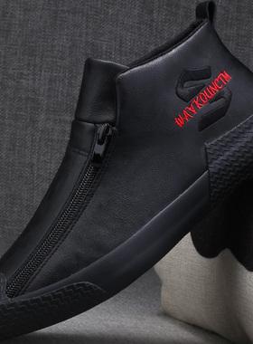 男士马丁靴秋季2021新款休闲皮鞋一脚蹬男鞋高帮加绒保暖冬季棉鞋