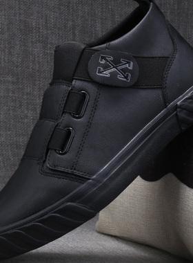 一脚蹬男鞋高帮鞋男士休闲皮鞋秋季2021新款加绒保暖棉鞋冬季板鞋