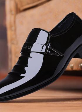 冬季新款皮鞋男加绒保暖潮青年韩版英伦男鞋男士商务一脚蹬休闲鞋