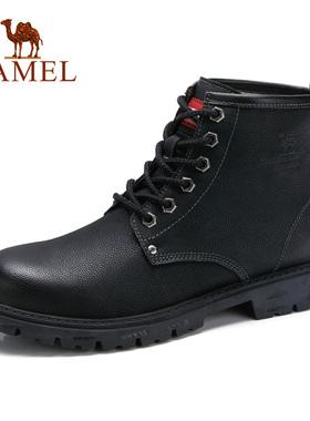 骆驼男鞋 冬季新款高帮工装靴牛皮黑色潮流百搭英伦户外马丁靴