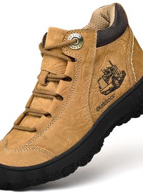 骆驼 洲户外高帮男鞋真皮冬季休闲鞋登山鞋徒步防滑加厚防滑棉鞋