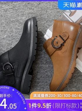特卖骆驼男鞋冬季高筒男士头层牛皮工装鞋户外休闲高帮鞋男靴长筒