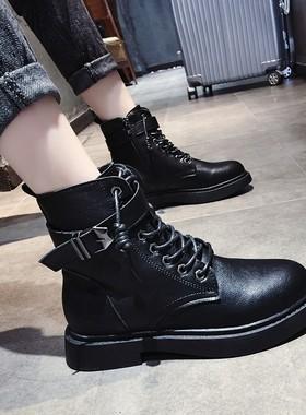 骆驼 汉2021年男鞋秋季新款真皮马丁靴男款高帮黑色粗跟冬季男鞋