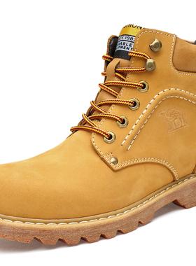 骆驼冬季男鞋真皮加绒保暖高帮厚底棉鞋工装马丁靴大黄靴男大码48