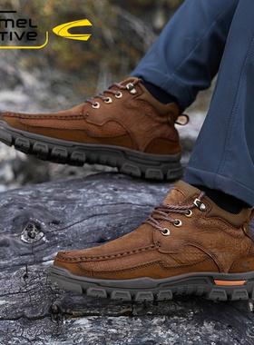 德国骆驼动感男鞋2021冬季新款真皮加绒保暖高帮鞋男士休闲鞋单鞋