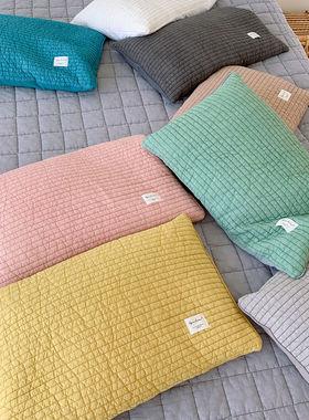 仔普北欧 天然健康荞麦壳枕头 拉链套绗缝高温砂洗染色护颈椎枕芯