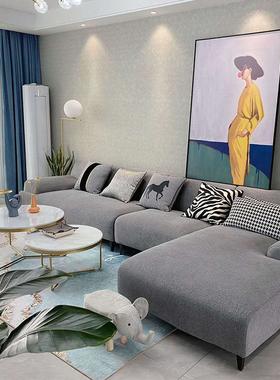 北欧三人位布艺沙发小户型现代简约风格L型乳胶转角沙发客厅组合