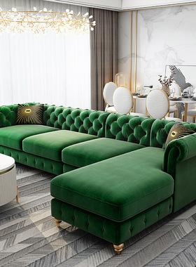轻奢沙发客厅布艺小户型简约现代拉扣乳胶美式转角家具组合套装