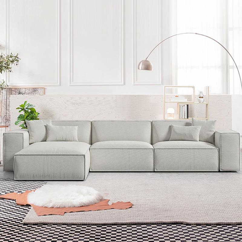 现代简约意式客厅乳胶沙发大小户型转角沙发组合布艺轻奢北欧灰色