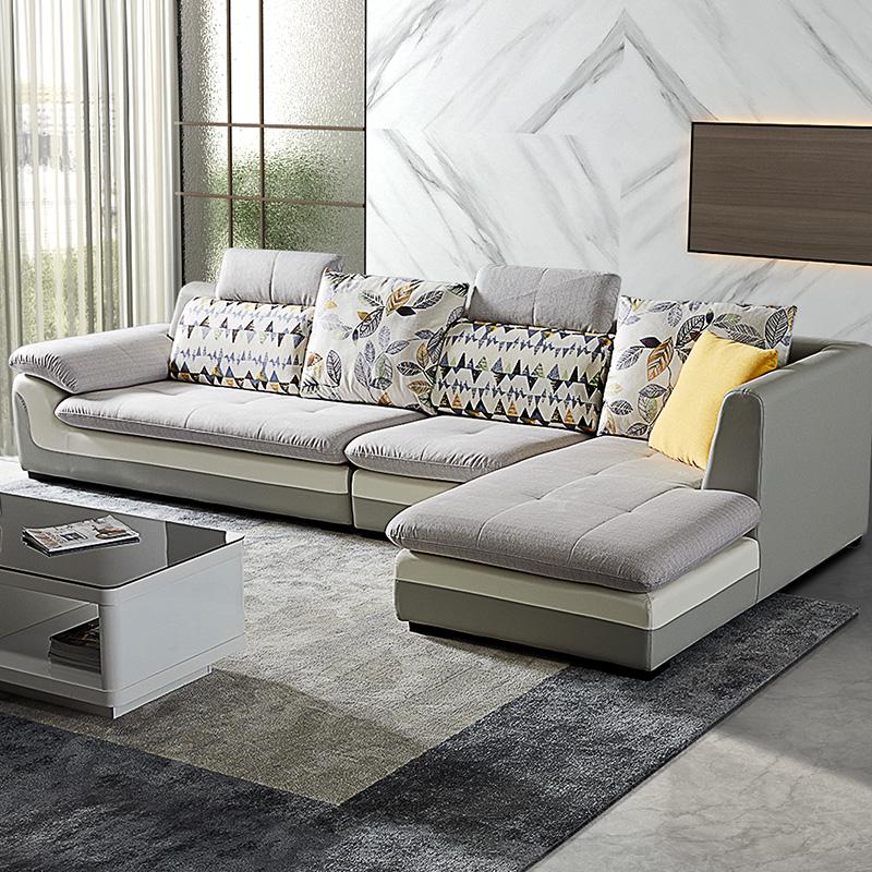 双虎布艺沙发客厅组合套装大小户l型简约现代转角贵妃乳胶沙发070