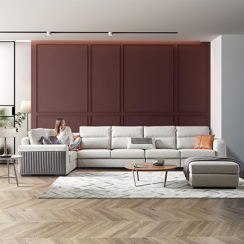 双虎家私 布艺沙发简约现代客厅大小户型组合直排转角乳胶沙发537