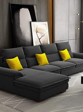 北欧布艺沙发现代简约轻奢客厅整装小户型可拆洗乳胶转角沙发组合