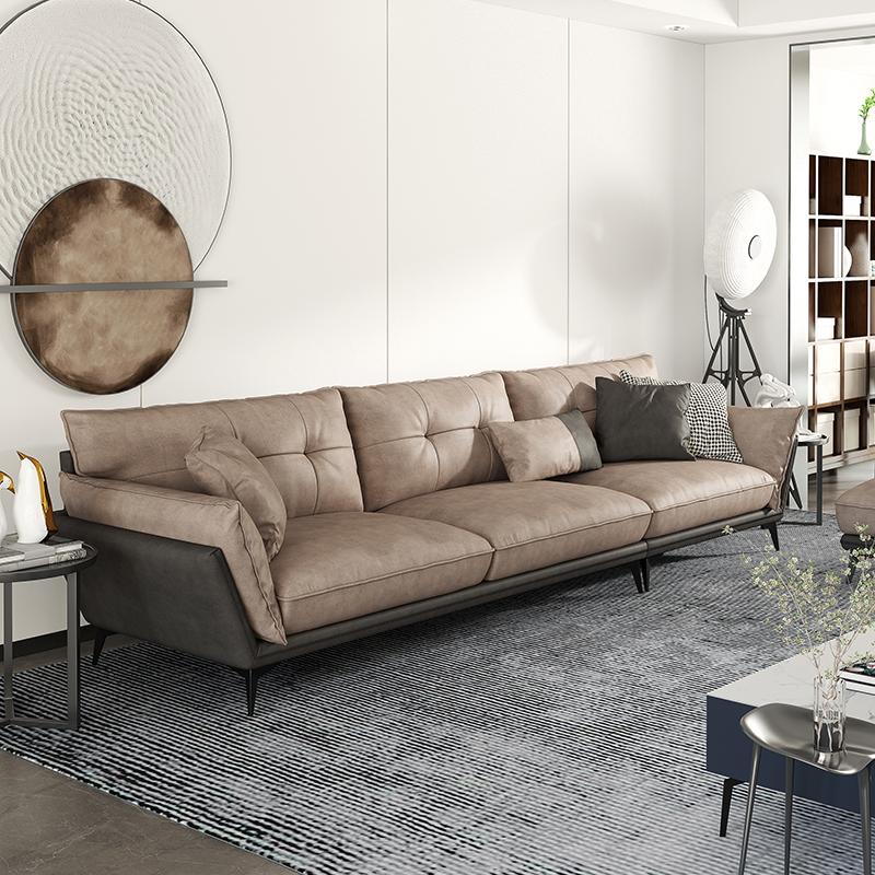 轻奢极简科技布乳胶沙发抗菌简约现代客厅小户型直排组合转角布艺