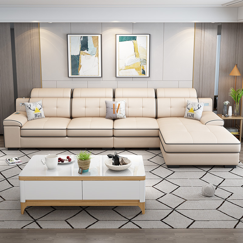 北欧布艺科技布沙发小户型客厅现代简约三人转角组合整装乳胶沙发