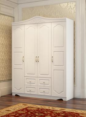 欧式家具衣柜家用卧室小户型收纳柜子白色实木质女生衣橱免安装