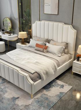轻奢床主卧1.8米双人皮艺婚床现代简约风小户型美式卧室储物家具