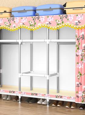 简易衣柜出租房用现代简约钢管布衣柜家用卧室家具收纳柜子挂衣橱