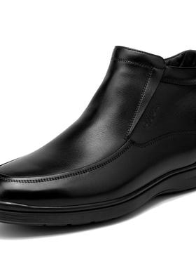 金利来男鞋冬季新款棉靴男士加绒高帮商务休闲皮靴男182840429