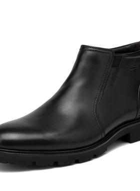 金利来男鞋冬季新款男士棉靴高帮加绒商务皮鞋男短靴182840447