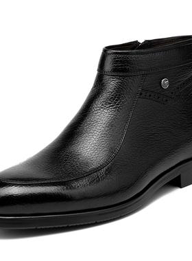 金利来男鞋冬季新款正品高帮加绒保暖皮鞋男男士皮靴182840467