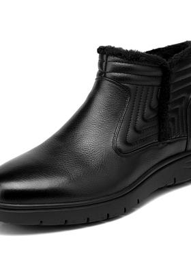 金利来男鞋冬季新款高帮真皮加绒保暖男士皮靴棉鞋男111840298