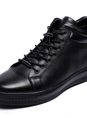 金利来男鞋2021冬季新款专柜正品鞋加绒厚底皮毛一体短靴棉鞋靴子