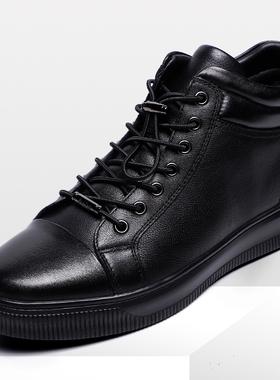 金利来男鞋2021冬季新款加绒厚底皮毛一体短靴棉鞋靴子239940307