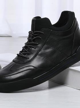 金利来男鞋冬季休闲加绒保暖厚底短靴真皮松紧带板鞋298940268