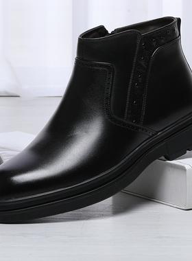 金利来男鞋2020冬季新款男靴加绒棉鞋保暖皮鞋套脚男鞋111940435
