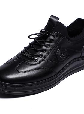 金利来男鞋2020冬季新款专柜正品加绒真皮系带运动休闲皮鞋男潮鞋
