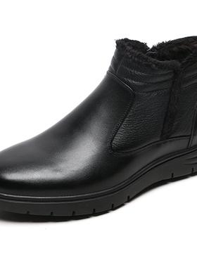 金利来男鞋2019冬季新款厚底加绒皮棉鞋保暖真皮靴子皮毛一体棉靴
