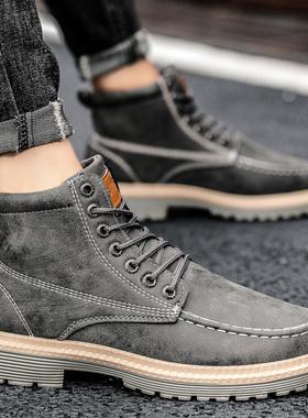 秋季男士马丁靴短靴工装靴韩版潮流夏季男鞋英伦风潮靴高帮男靴子