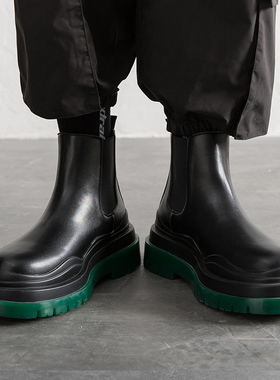 马丁靴男士切尔西靴祖母绿底中帮烟筒bv短靴高帮加绒工装男鞋夏季