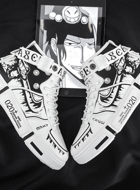 男鞋秋季高帮aj涂鸦休闲平板鞋夏季透气初中学生百搭运动潮鞋冬季