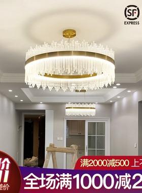 客厅灯水晶吊灯港式轻奢风网红圆形后现代别墅简约餐厅灯卧室灯具