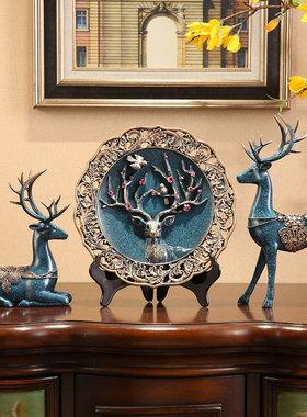 美式客厅上博物架玄关小摆设招财小鹿新房摆件乔迁新居家居装饰品