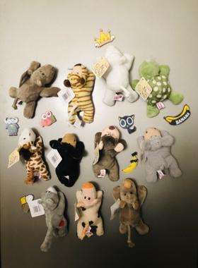卡通毛绒玩具冰箱贴可爱动物冰箱磁贴创意时尚家居摆件冰箱贴磁贴