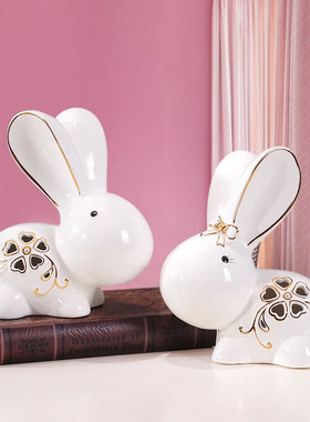 温馨房间卧室桌面陶瓷创意情侣可爱一对兔子小白兔家居装饰品摆件