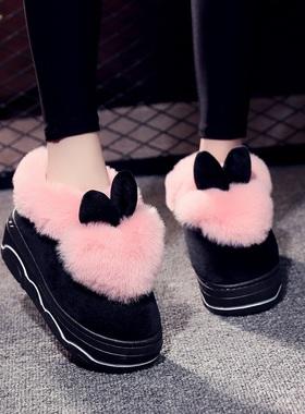 秋冬家居棉拖鞋女冬季包跟厚底防滑室内可爱高跟外穿家用毛毛拖鞋