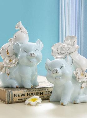 创意陶瓷招财猪发财办公室家里小猪客厅隔断酒柜家居装饰品小摆件