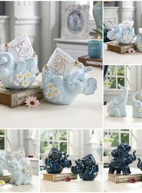 新房样品房客厅酒柜招财镇宅大象一对三只小象家居装饰品摆件摆设