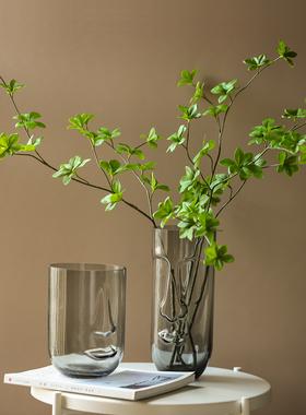 可盐风北欧人脸玻璃花瓶样板间客厅插花花器家居软装饰