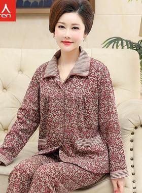 中老年中年妈妈睡衣女春秋季纯棉长袖开衫老人薄款大码家居服套装