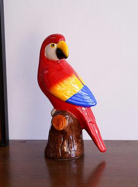 出口可爱卡通陶瓷手绘鹦鹉造型家居装饰摆件田园鸟存钱罐北欧摆设