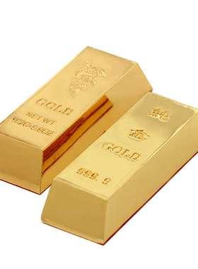 铜金条摆件仿真金条金砖金块元宝八运家居供奉财神风水摆设